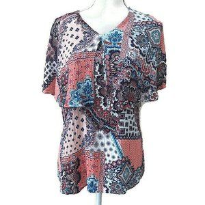 CHICO'S Paisley Shawl Collar Crinkle Blouse